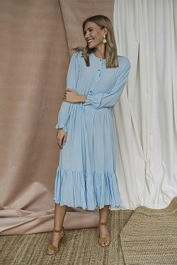 Nini A-Line Dress Sky Blue