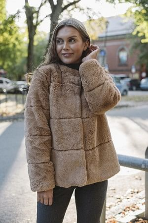 Anette Fake Fur Jacket Camel