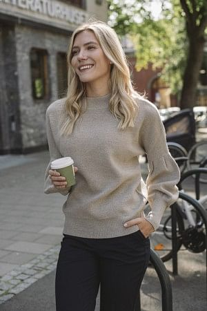 Blue Merino Sweater Beige
