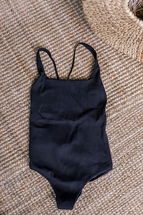 GANNI Textured Swimsuit Black badedrakt
