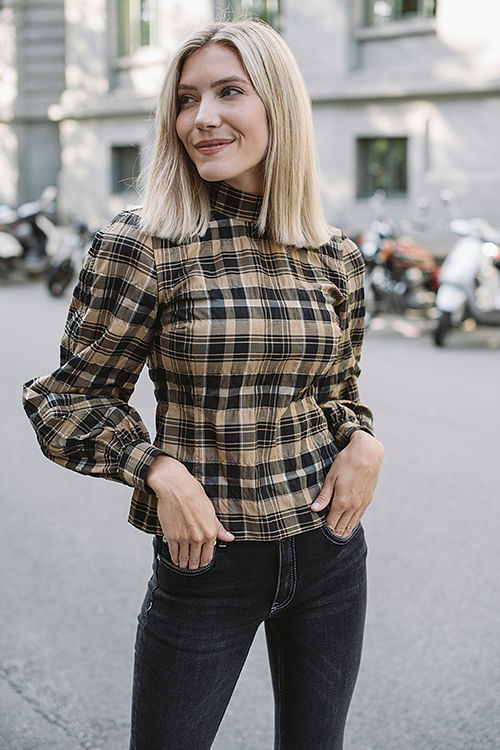 Seersucker Check Blouse Tigers Eye