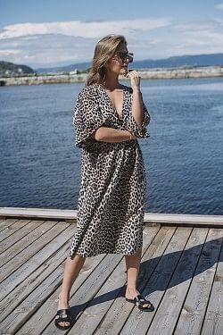 Cotton Silk Dress Leopard