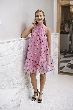 Embellished Mesh Dress Moonlight Mauve
