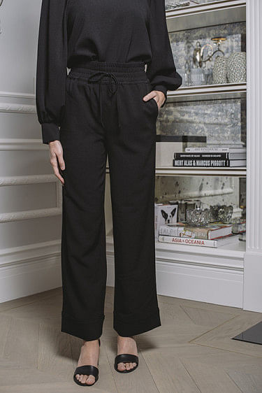 Heavy Crepe Wide Pants Black
