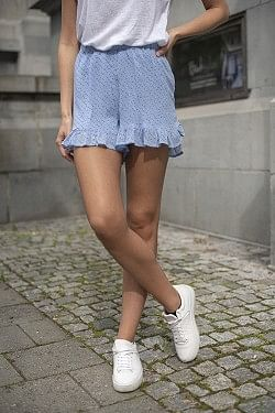 Printed Georgette Shorts Forever Blue
