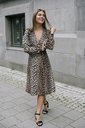 Silk Mix Dress Leopard