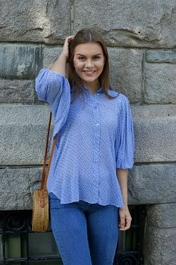 Printed Georgette Shirt Forever Blue
