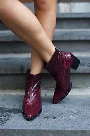 Ava Boots Bordeaux Snake