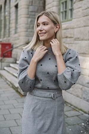 Dionna Puff Pullover Gray Flannel