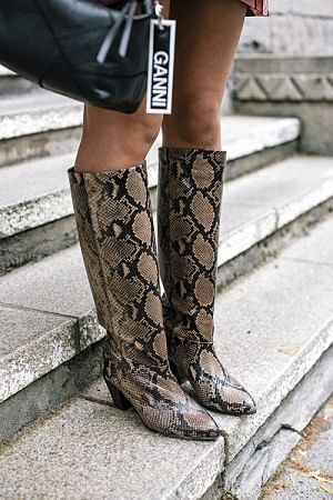 Rita Faux Python Boots Dark Brown