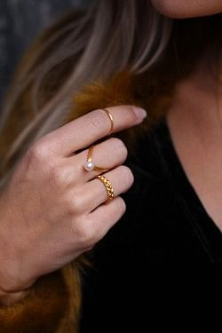 Small Braided Ring Matt Gold