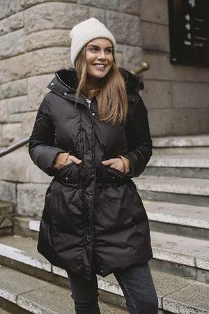 Down Coat Long Faux Fur Black