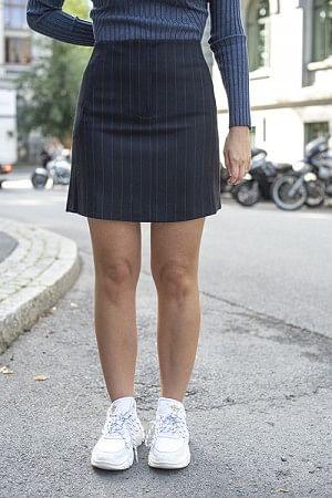 Jody Skirt Navy Pinstripe