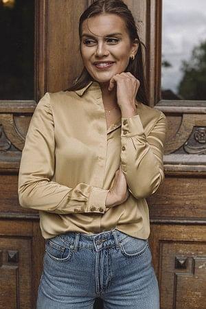 Audrey Silk Shirt Camel