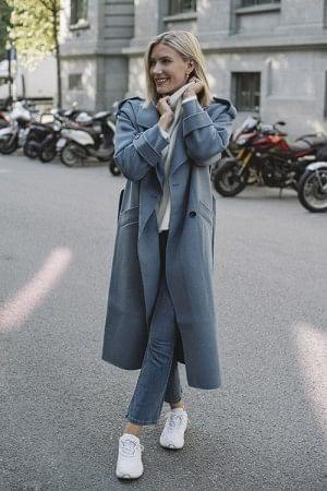 Hepburn Wool Coat Dove Blue