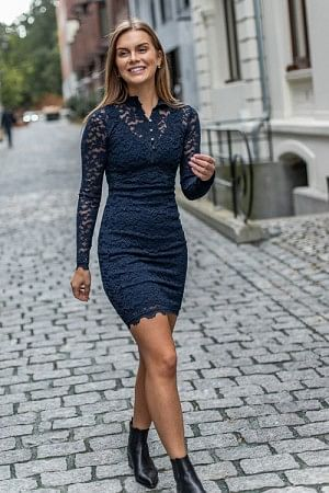 Lace Dress LS Dark Blue