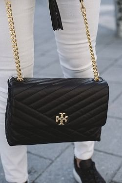 Kira Chevron Flap Shoulder Bag Black